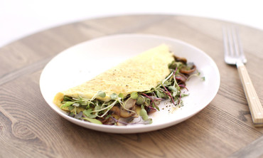 Healthy Mushroom and Microgreen Omelet