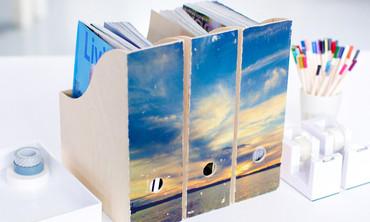 DIY Decoupaged Magazine Organizers
