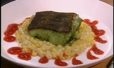 Marinated Cod Filets with Corn Pudding