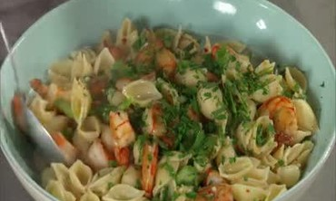 Pasta with Shrimp Scampi and Asparagus