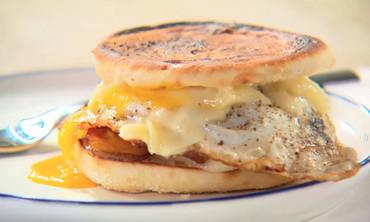 Fried Eggs and Bacon Breakfast Sandwich