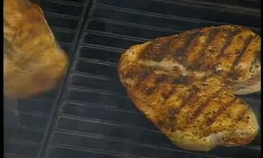 Grilled Chicken Breasts and Fried Bacon