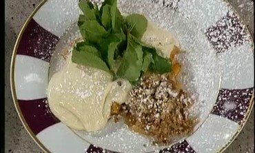 Peach Crumb Pie with Cinnamon Ice Cream