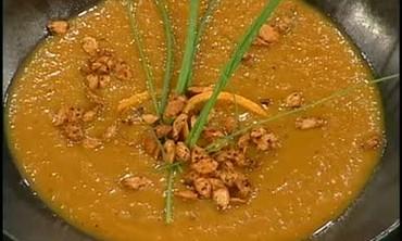 Pumpkin Orange Soup with Orange Garnish