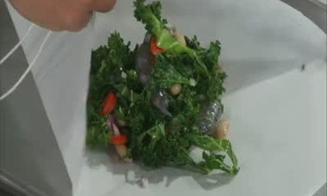 Shrimp Packet with Kale and White Beans