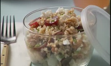 Bulgur Salad with Grapes and Feta Cheese