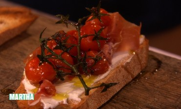 Cherry Tomatoes and Proscuitto Tartine