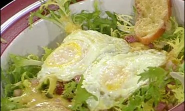 Frisee Salad with Lardons and Fried Eggs