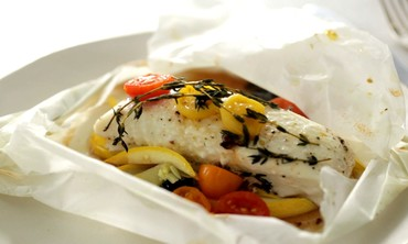 Halibut, Squash and Tomatoes in Parchment