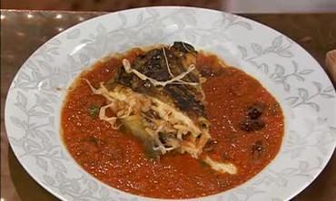 Paella and Eggplant and Bucatini Timbale