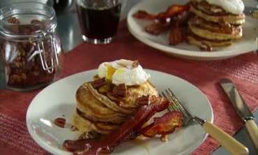Pecan Pancakes with a Poached Egg on Top