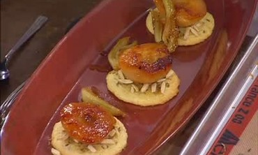 Poached Pear Dessert with Fennel Cookies