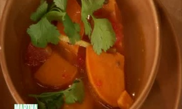 Sweet Potato Soup with Lime and Cilantro