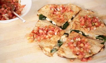 Collard Greens and White Bean Quesadillas