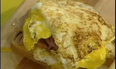 Fried Ham and Egg Sandwich on a Hot Plate