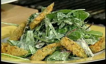 Fried Okra Salad with Buttermilk Dressing