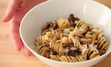 Fusilli with Bacon, Onions, and Mushrooms