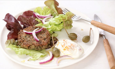 No-Bread Lentil Burgers with Greek Yogurt