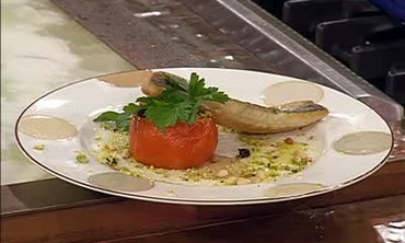 Pan Seared Branzino with Stuffed Tomatoes