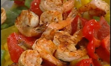 Skewered Shrimp with Roasted Pepper Salad