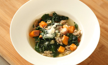 Sweet Potato Soup with Sausage and Greens