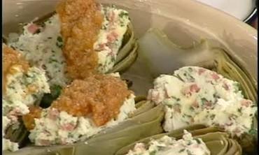 Artichokes Stuffed with Ricotta and Salami
