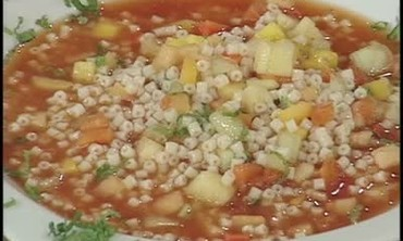 Cold Fruit Minestrone Soup with Watermelon