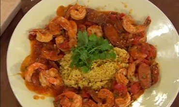 Finished Shrimp and Chorizo Stew with Rice