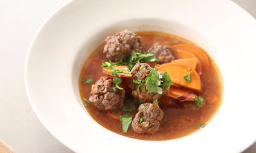 Moroccan Meatball Soup with Sweet Potato