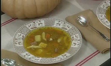 Pumpkin Soup with Short Ribs and Dumplings