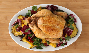 Roasted Chicken with Squash and Radicchio