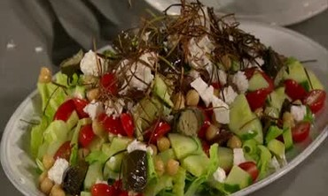 Classic Greek Salad Topped with Fried Leeks