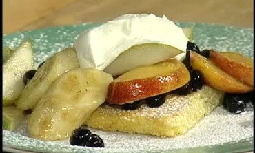 Cornmeal Sheet Cake Topped with Fresh Fruit