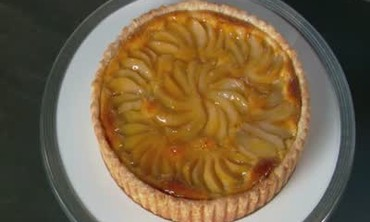 Pear Tart with Apricot Jam and Almond Cream