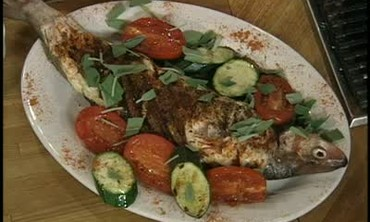 White Fish with Sage, Zucchini and tomatoes.