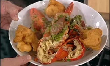 Caribbean Lobster Stew with Lobster Fritters