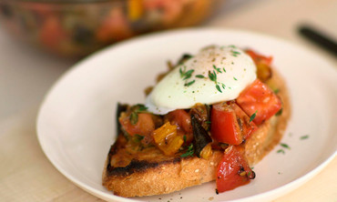 Crunchy Ratatouille and Poached Egg on Toast