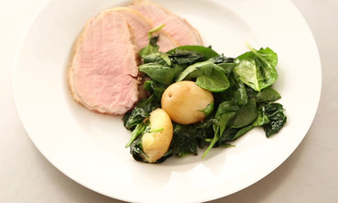 Roasted Pork Loin with Potatoes and Greens