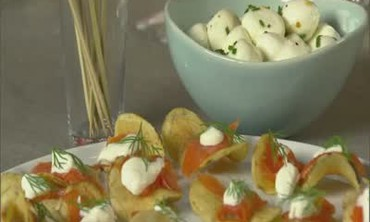 Smoked Salmon on Chips and Herbed Bocconcini
