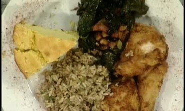Southern Baked Chicken, Greens and Dirty Rice