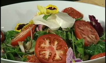 Tomato Stack Salad with Fried Green Tomatoes