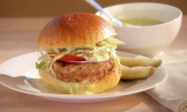 Turkey Burgers with Cilantro-Lime Mayonnaise
