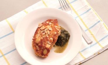 Almond-Apricot Chicken Recipe with Mint Pesto