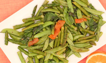 Asparagus and Snap Peas with Orange Chile Oil