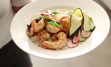 Lemon-Basil Shrimp with Shaved Zucchini Salad