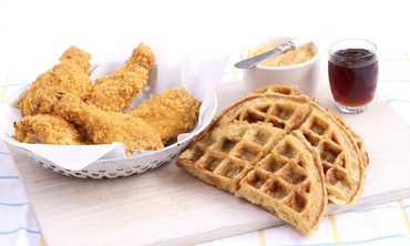 Oven-Fried Chicken and Buttermilk Oat Waffles