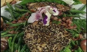 Seared Tuna Salad with Warm Pancetta Dressing