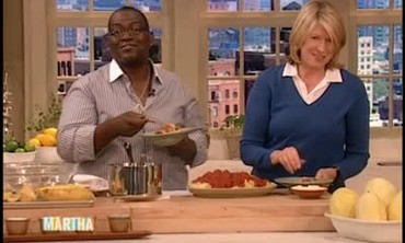 Randy Jackson Helps Martha Finish a Spaghetti Squash with Turkey Meatballs Dish