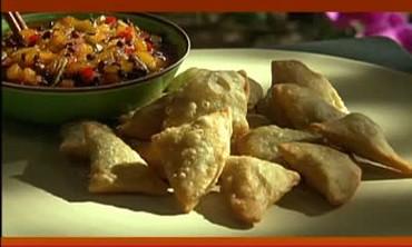 Traditional Indian Samosas with Mango Chutney
