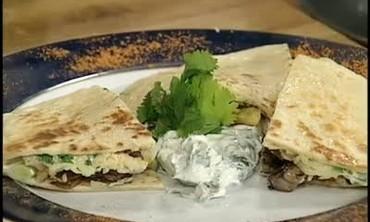 Vegetable Quesadilla with Cilantro Sour Cream